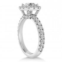 Diamond Halo Engagement Ring 14k White Gold (0.90ct)