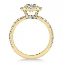 Diamond Halo Engagement Ring 14k Yellow Gold (0.90ct)