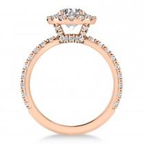 Diamond Halo Engagement Ring 18k Rose Gold (0.90ct)