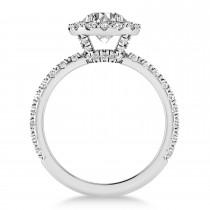 Diamond Halo Engagement Ring Platinum (0.90ct)