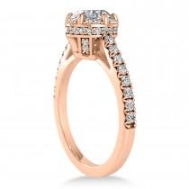 Diamond Sidestones Engagement Ring 18k Rose Gold (0.44ct)