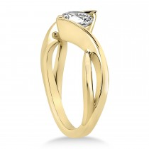 Diamond Twisted Engagement Ring 14k Yellow Gold