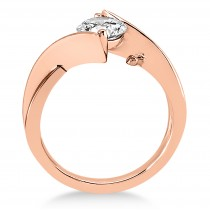 Diamond Twisted Engagement Ring 18k Rose Gold