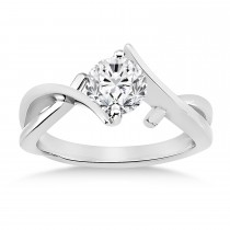 Diamond Twisted Engagement Ring 18k White Gold
