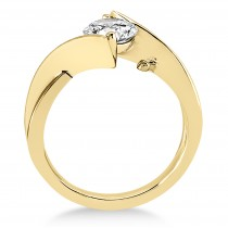 Diamond Twisted Engagement Ring 18k Yellow Gold