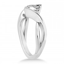 Diamond Twisted Engagement Ring Platinum