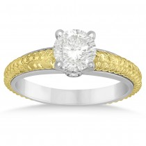 Diamond Engagement Ring Setting 14k Two Tone Braided Gold (0.03ct)