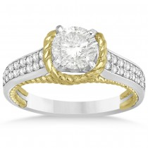 Diamond Two Row Engagement Ring Rope Design 14k Two Tone Gold (0.25ct)