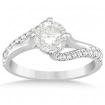 Diamond Accented Swirl Engagement Ring Setting 14k White Gold (0.21ct)