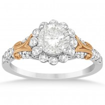 Diamond Floral Halo Engagement Ring Setting 14k Two Tone Gold (0.32ct)