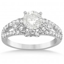 Diamond Celtic Engagement Ring Setting 14k White Gold (0.39ct)
