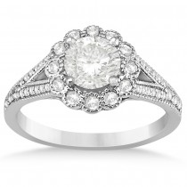 Diamond Floral Halo Engagement Ring Setting 14k Two Tone Gold (0.40ct)