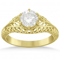 Filigree Milgrain Vintage Engagement Ring Setting 14k Yellow Gold