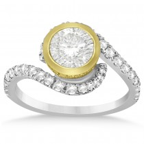Diamond Swirl Bezel-Set Engagement Ring 14k Two Tone Gold (0.43ct)
