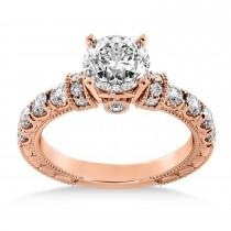 Diamond Vintage Style Engagement Ring 14k Rose Gold (0.52ct)