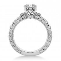 Diamond Vintage Style Engagement Ring 14k White Gold (0.52ct)