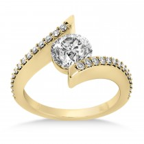 Diamond Bypass Tension Set Engagement Ring 18k Yellow Gold (0.28ct)
