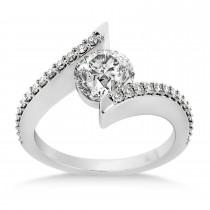 Diamond Bypass Tension Set Engagement Ring Palladium (0.28ct)