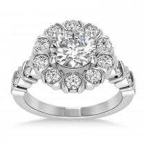 Diamond Petal Styled Engagement Ring 14k White Gold (1.00ct)