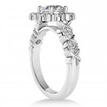 Diamond Petal Styled Engagement Ring 18k White Gold (1.00ct)