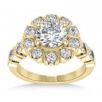 Diamond Petal Styled Engagement Ring 18k Yellow Gold (1.00ct)