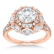 Diamond Accented Halo Engagement Ring 18k Rose Gold (0.92ct)