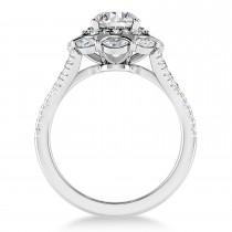 Diamond Accented Halo Engagement Ring 18k White Gold (0.92ct)
