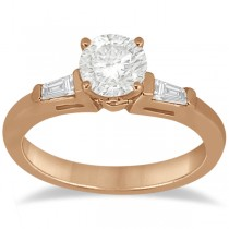 Three Stone Baguette Diamond Engagement Ring 18K Rose Gold (0.20ct)