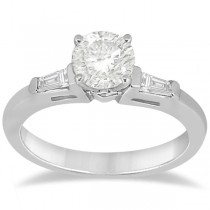 Three Stone Baguette Diamond Engagement Ring Palladium (0.20ct)