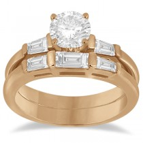 Diamond Baguette Engagement Ring & Wedding Band Set 14K Rose Gold (0.60ct)