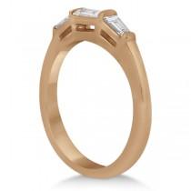 Diamond Baguette Engagement Ring & Wedding Band Set 14K Rose Gold (0.60ct)