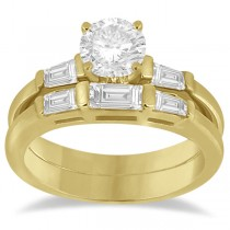 Diamond Baguette Engagement Ring & Wedding Band Set 14K Yellow Gold (0.60ct)