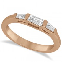 Three Stone Baguette Diamond Wedding Ring in 18K Rose Gold (0.40ct)