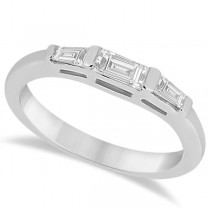 Three Stone Baguette Diamond Wedding Ring in 18K White Gold (0.40ct)