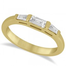Three Stone Baguette Diamond Wedding Ring in 18K Yellow Gold (0.40ct)