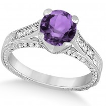 Diamond & Amethyst Antique Engagement Ring 14k White Gold (1.40ct)