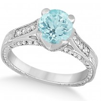 Diamond & Aquamarine Antique Engagement Ring 14k White Gold (1.40ct)