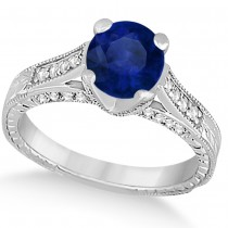 Diamond & Blue Sapphire Antique Engagement Ring 14k White Gold (1.40ct)