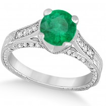 Diamond & Emerald Antique Engagement Ring 14k White Gold (1.40ct)