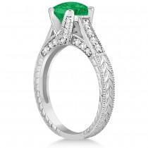 Diamond & Emerald Antique Engagement Ring 14k White Gold (1.40ct)