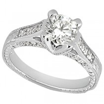 Antique Style Diamond Engagement Ring Setting Platinum (0.40ct)