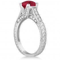 Diamond & Ruby Antique Engagement Ring 14k White Gold (1.40ct)