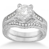 Antique Style Engagement Ring and Matching Wedding Band in 14k White Gold