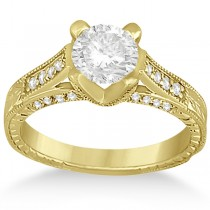Antique Style Engagement Ring and Matching Wedding Band in 14k Yellow Gold