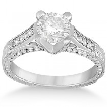 Antique Style Engagement Ring and Matching Wedding Band 18k White Gold