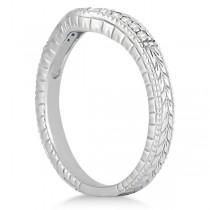 Antique Style Pave-Set Diamond Wedding Band 14k White Gold (0.12 ctw)