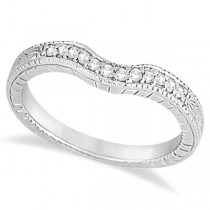 Antique Style Pave-Set Diamond Wedding Band in Palladium (0.12 ctw)