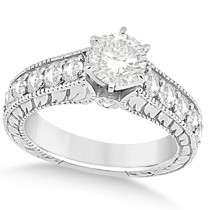Vintage Diamond Accented Engagement Ring in 18k White Gold (2.05ct)