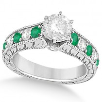 Vintage Diamond and Emerald Engagement Ring in Palladium (2.23ct)