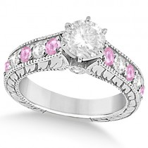 Vintage Diamond Pink Sapphire Engagement Ring 14k White Gold (2.41ct)